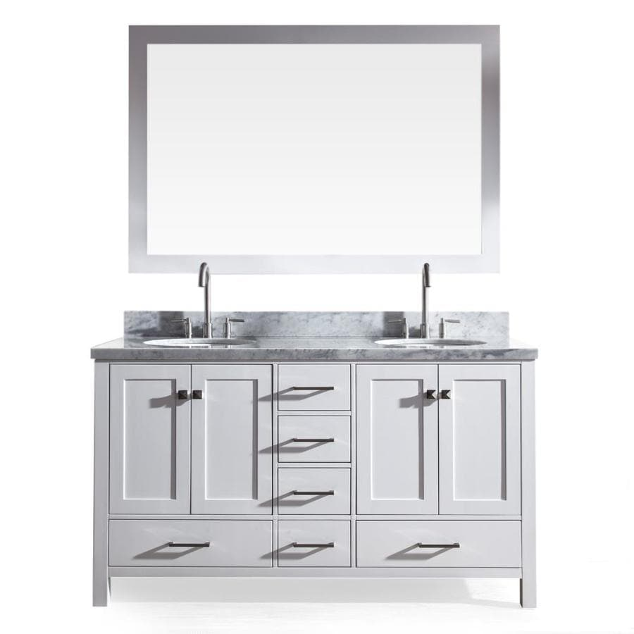 Asian bathroom vanity cabinets - Ariel Cambridge White Undermount Double Sink Bathroom Vanity With Natural Marble Top Common 61