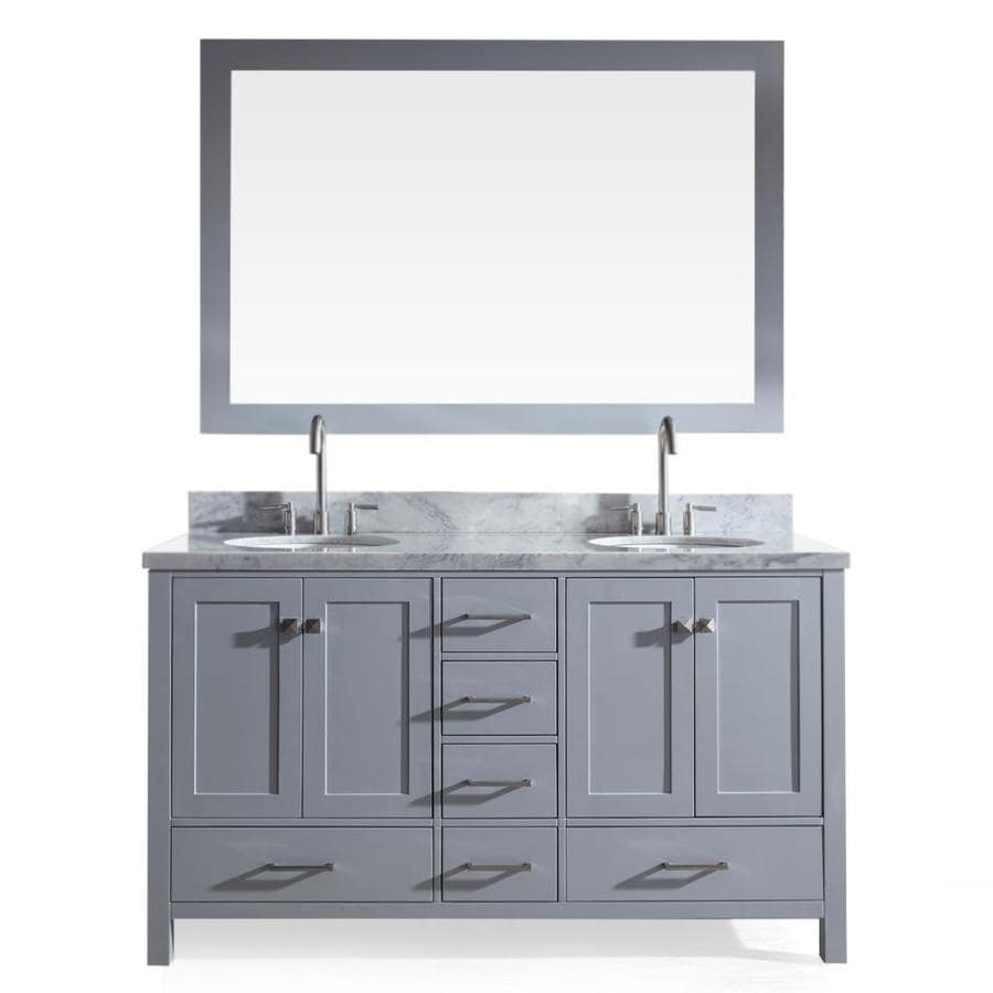 ARIEL Cambridge Grey 61-in Undermount Double Sink Asian Hardwood Bathroom Vanity with Natural Marble Top (Mirror Included)