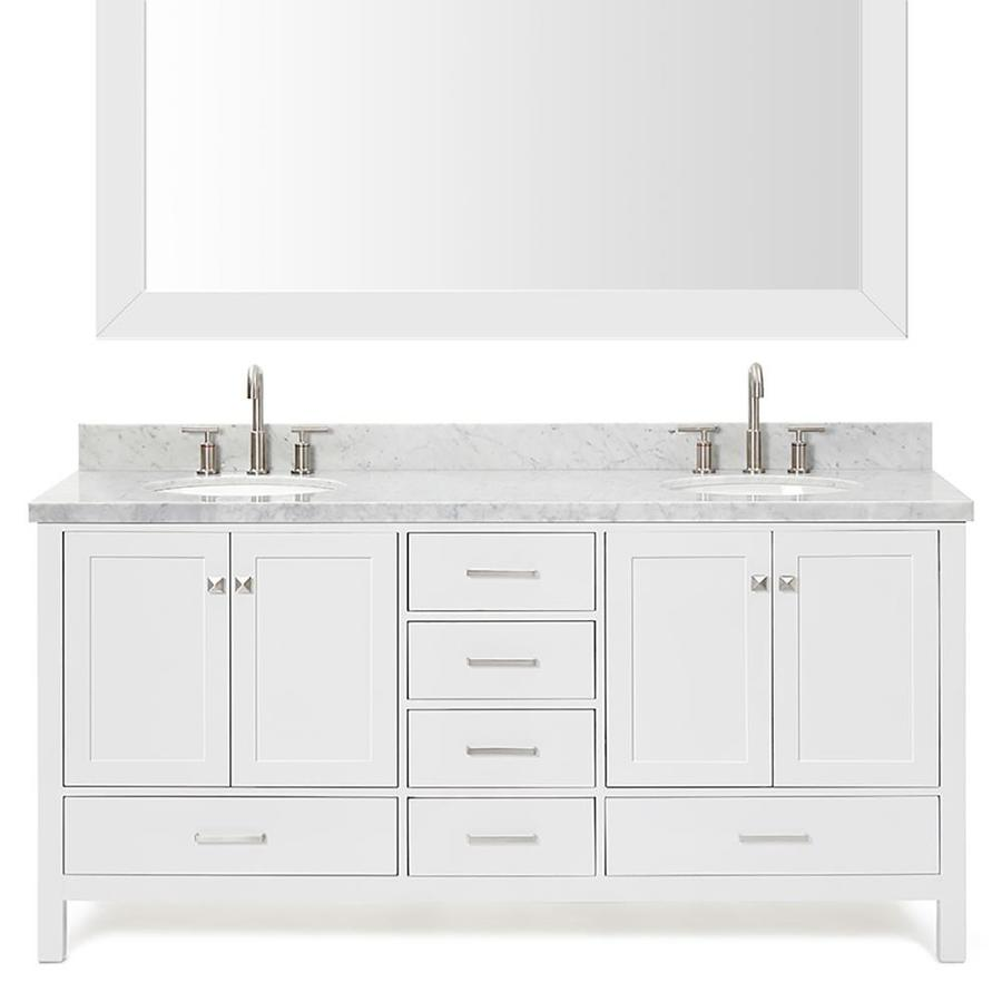 Asian Bathroom Vanity Cabinets Shop Ariel Cambridge White 73 In Undermount Double Sink Asian
