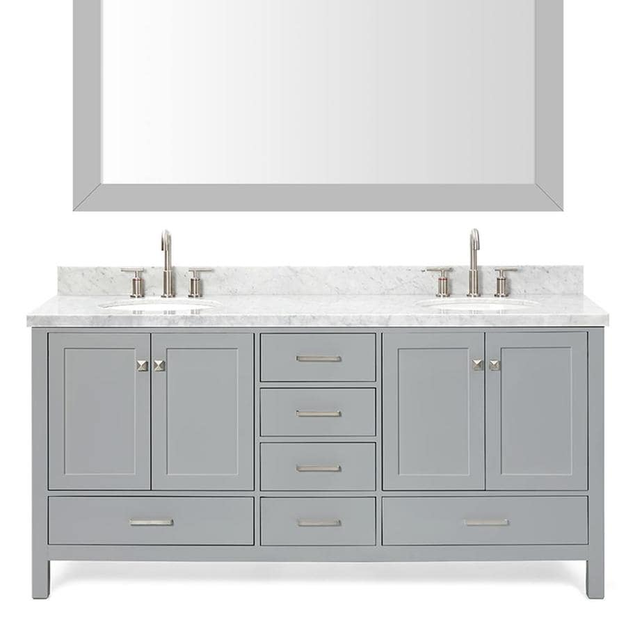 ARIEL Cambridge Grey 73-in Undermount Double Sink Asian Hardwood Bathroom Vanity with Natural Marble Top (Mirror Included)