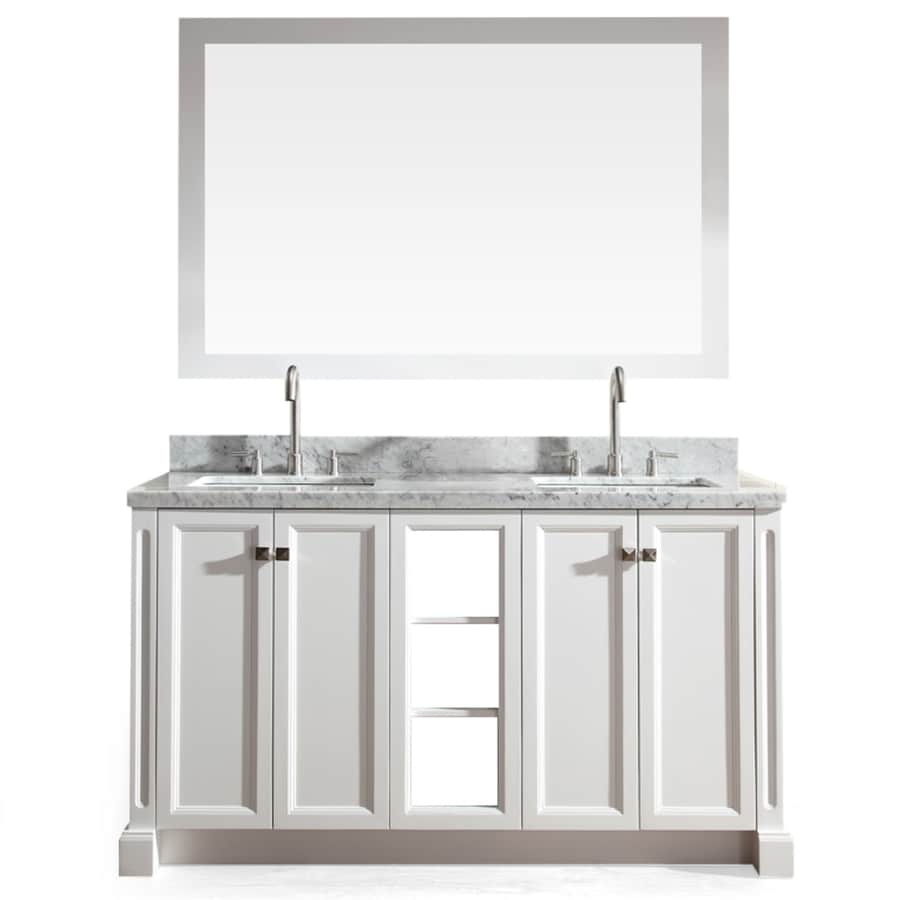 ARIEL Westwood White 61-in Undermount Double Sink Asian Hardwood Bathroom Vanity with Natural Marble Top (Mirror Included)