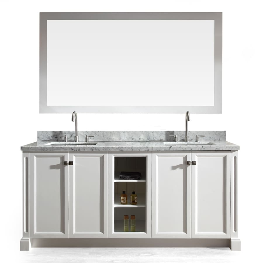 ARIEL Westwood White Undermount Double Sink Bathroom Vanity with Natural Marble Top (Common: 73-in x 22-in; Actual: 73-in x 22-in)