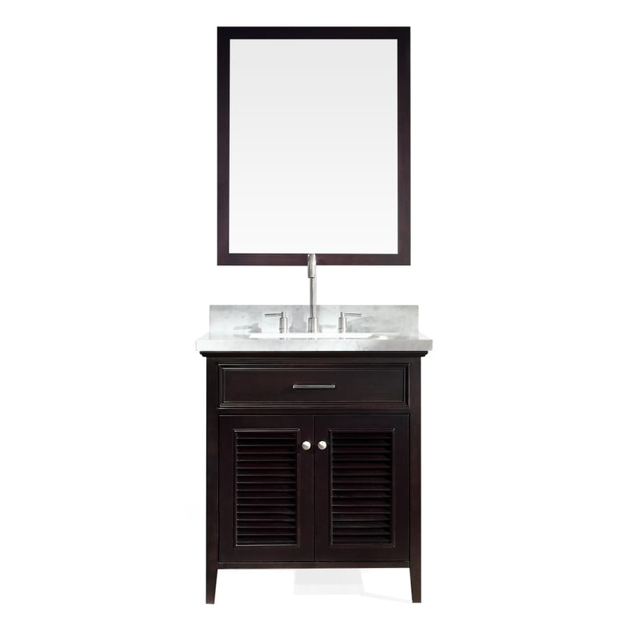 ARIEL Kensington Espresso 31-in Undermount Single Sink Asian Hardwood Bathroom Vanity with Natural Marble Top (Mirror Included)