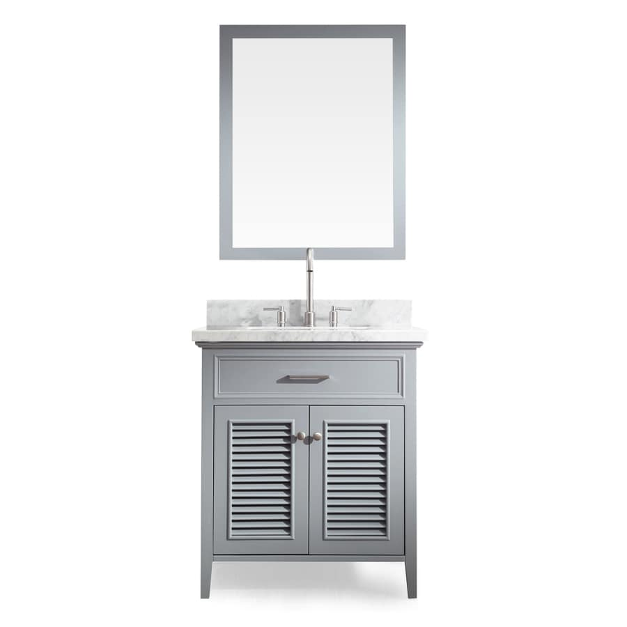 ARIEL Kensington Grey 31-in Undermount Single Sink Asian Hardwood Bathroom Vanity with Natural Marble Top (Mirror Included)