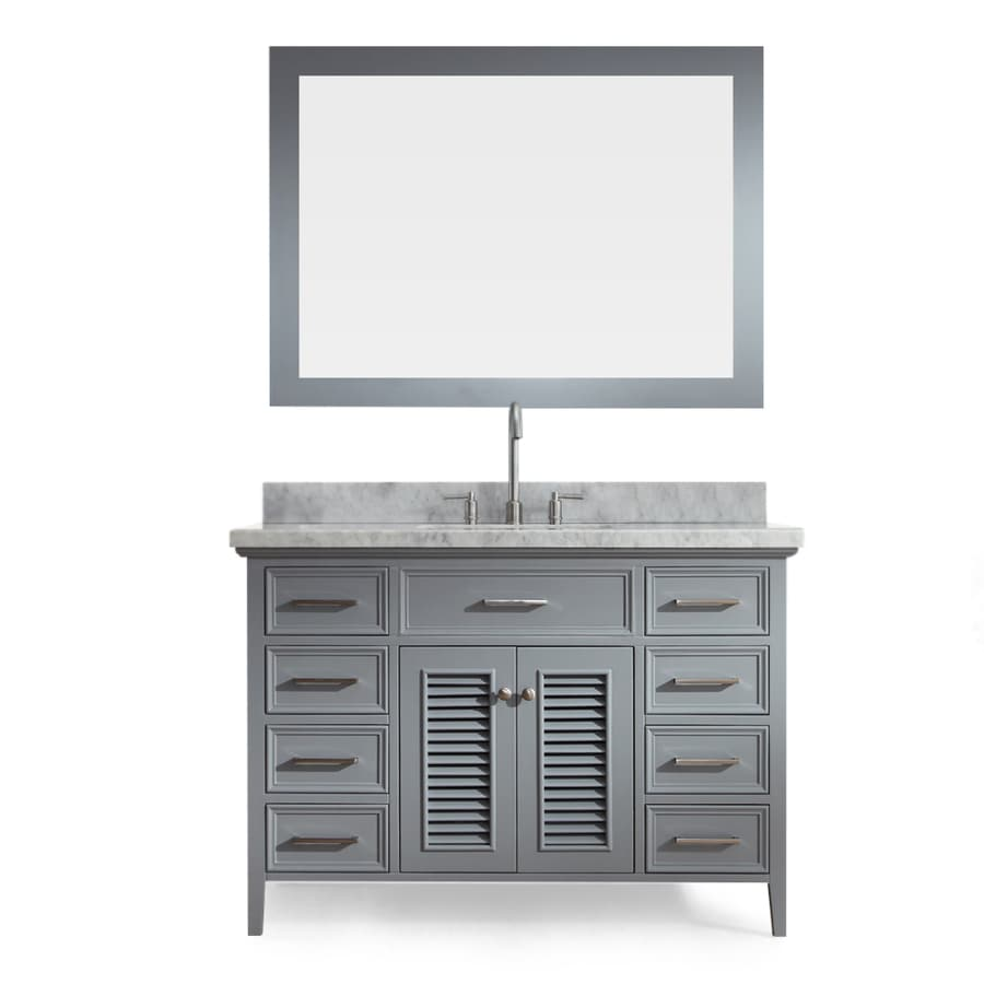 ARIEL Kensington Grey 49-in Undermount Single Sink Asian Hardwood Bathroom Vanity with Natural Marble Top (Mirror Included)