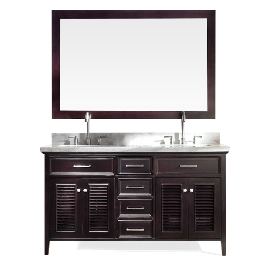ARIEL Kensington Espresso 61-in Undermount Double Sink Asian Hardwood Bathroom Vanity with Natural Marble Top (Mirror Included)