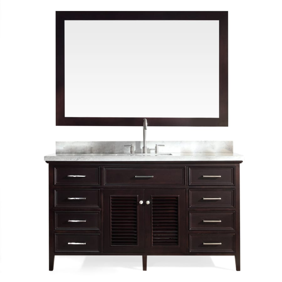 ARIEL Kensington Espresso 61-in Undermount Single Sink Asian Hardwood Bathroom Vanity with Natural Marble Top (Mirror Included)