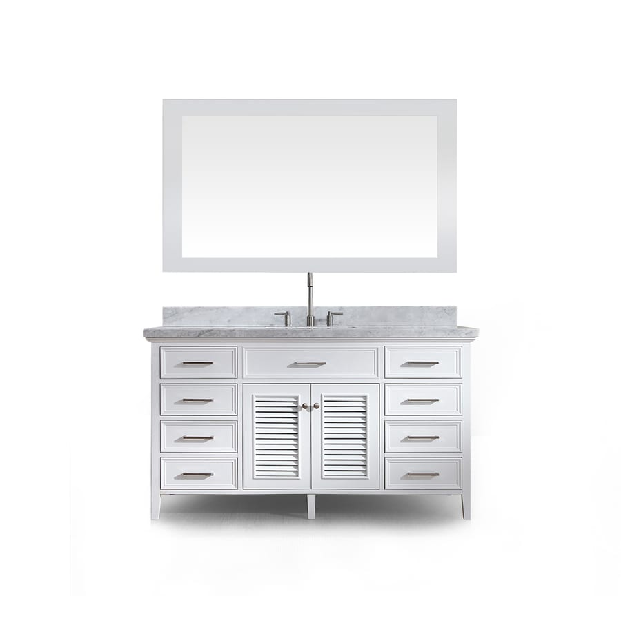 ARIEL Kensington White 61-in Undermount Single Sink Asian Hardwood Bathroom Vanity with Natural Marble Top (Mirror Included)