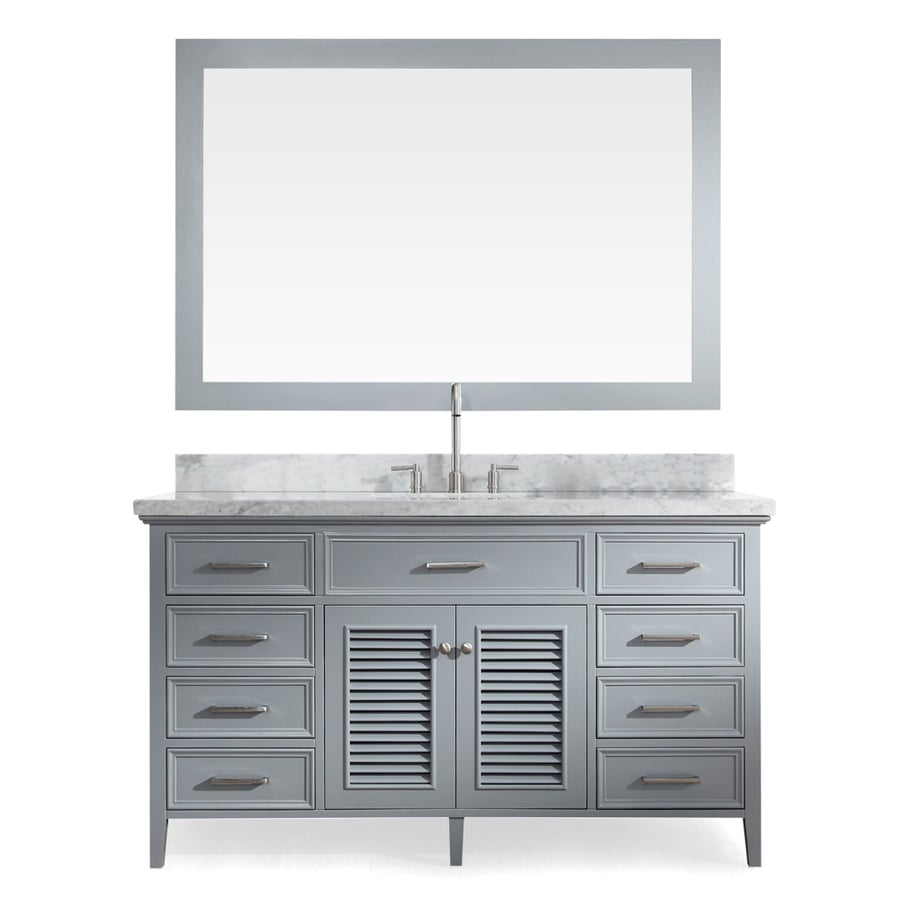 ARIEL Kensington Grey Undermount Single Sink Bathroom Vanity with Natural Marble Top (Common: 61-in x 22-in; Actual: 61-in x 22-in)