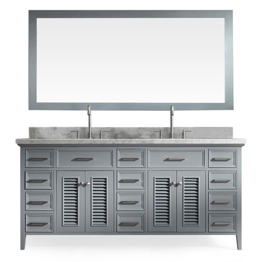 ARIEL Kensington Grey Double Sink Vanity With White Natural Marble Top  (Common: 73