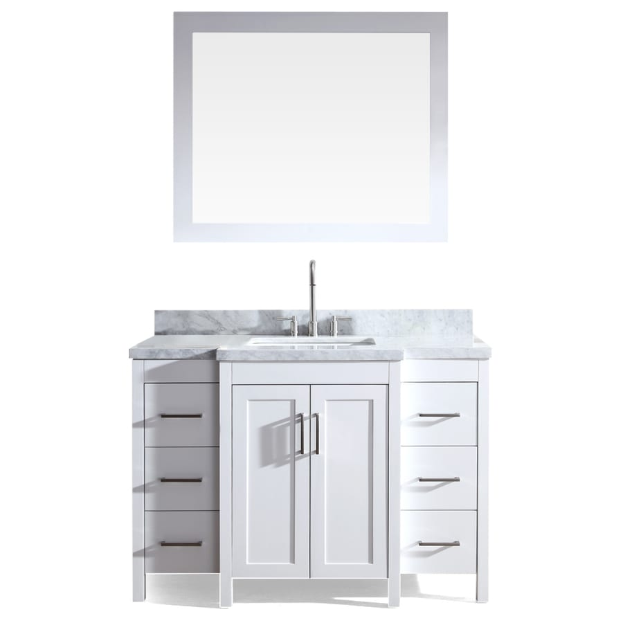 Asian Bathroom Vanity Cabinets Shop Ariel Hollandale White 49 In Undermount Single Sink Asian