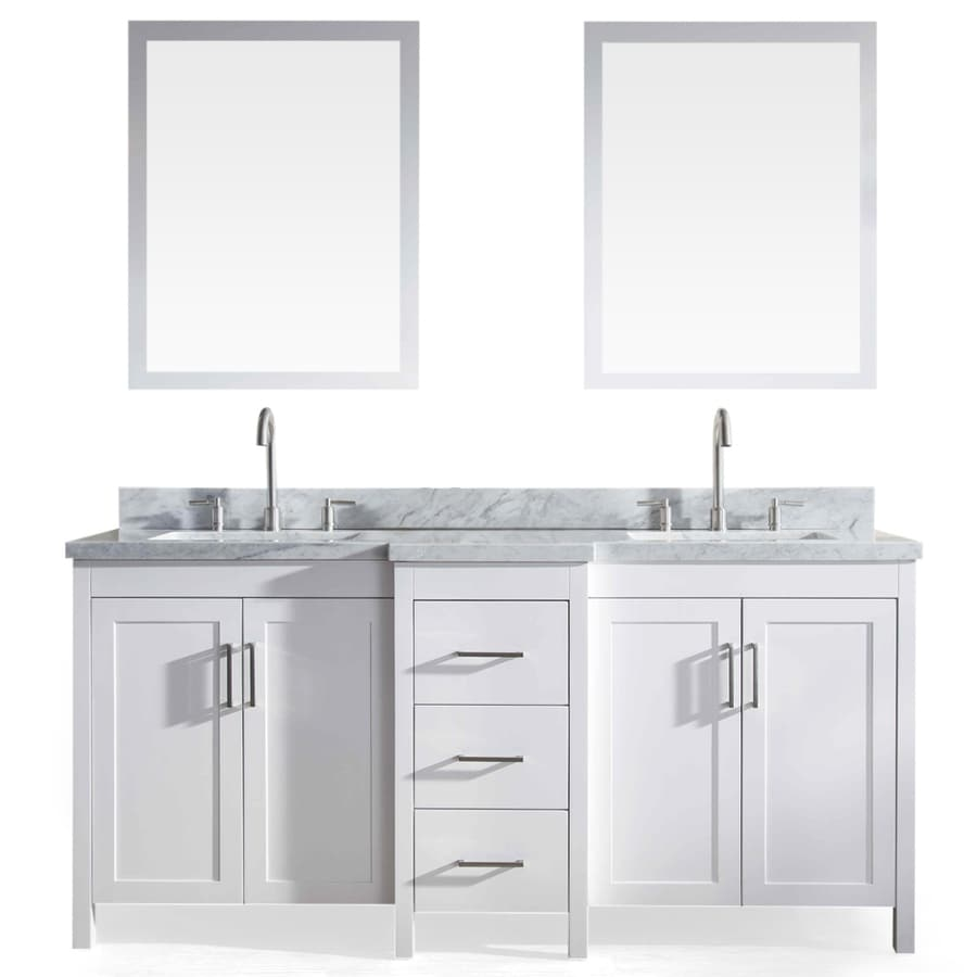 ARIEL Hollandale White (Common: 73-in x 22-in) Undermount Double Sink Asian Hardwood Bathroom Vanity with Natural Marble Top (Mirror Included) (Actual: 73-in x 22-in)