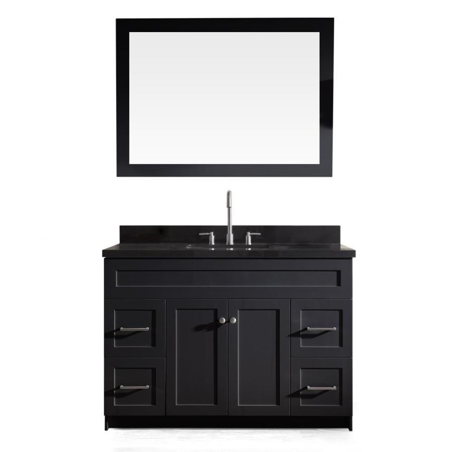 ARIEL Hamlet Black 49-in Undermount Single Sink Asian Hardwood Bathroom Vanity with Granite Top (Mirror Included)