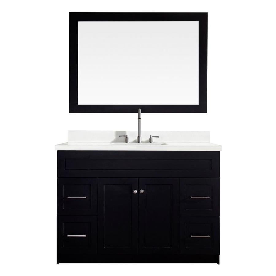 ARIEL Hamlet Black 49-in Undermount Single Sink Asian Hardwood Bathroom Vanity with Quartz Top (Mirror Included)