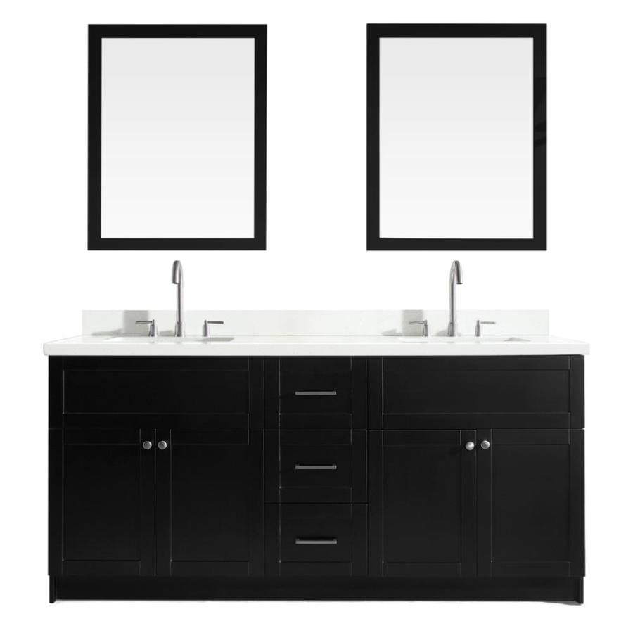 ARIEL Hamlet Black 73-in Undermount Double Sink Asian Hardwood Bathroom Vanity with Quartz Top (Mirror Included)