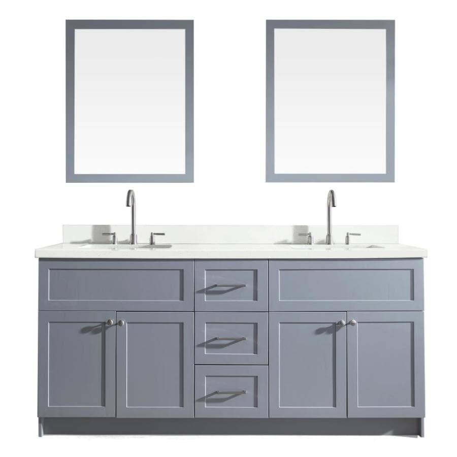 ARIEL Hamlet Grey 73-in Undermount Double Sink Asian Hardwood Bathroom Vanity with Quartz Top (Mirror Included)
