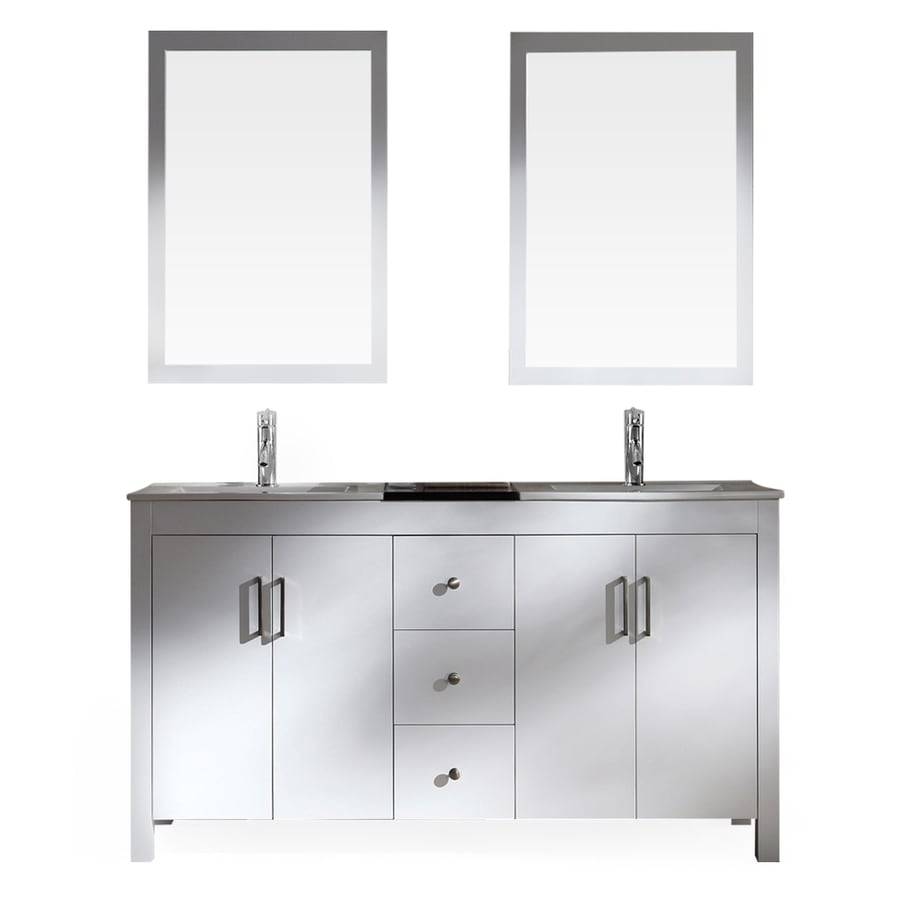 ARIEL Hanson White Drop-In Double Sink Bathroom Vanity with Ceramic Top (Common: 60-in x 19-in; Actual: 60-in x 19-in)