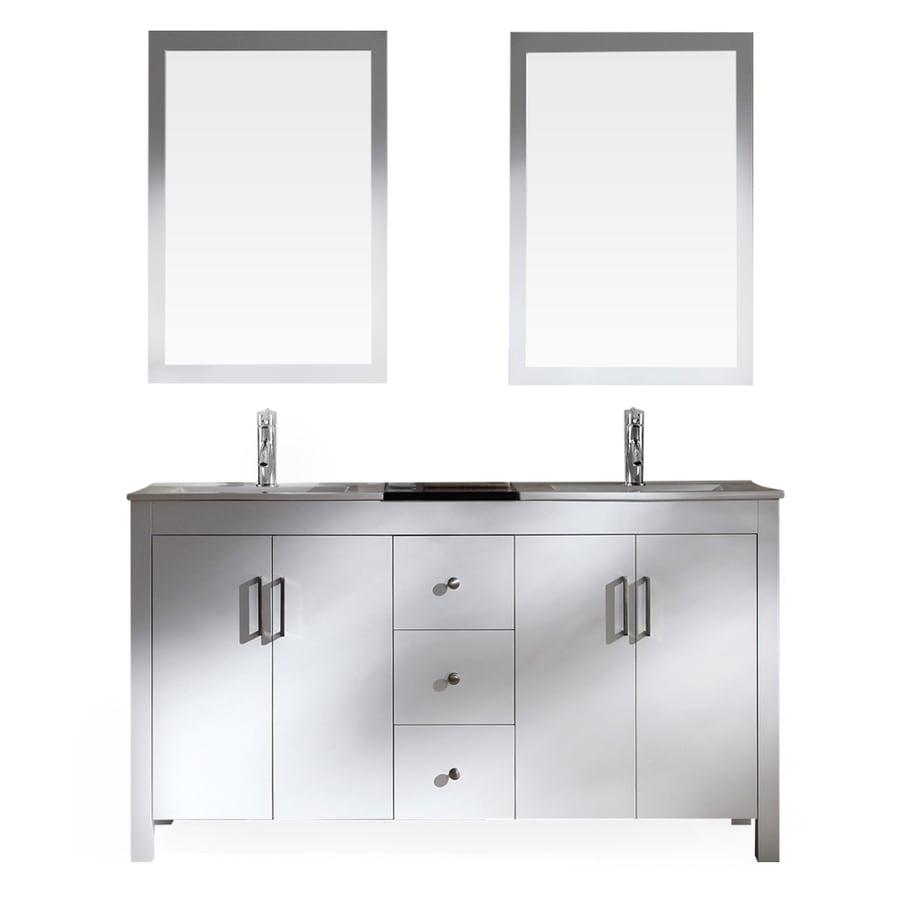 ARIEL Hanson White 60-in Drop-in Double Sink Asian Hardwood Bathroom Vanity with Ceramic Top (Mirror Included)