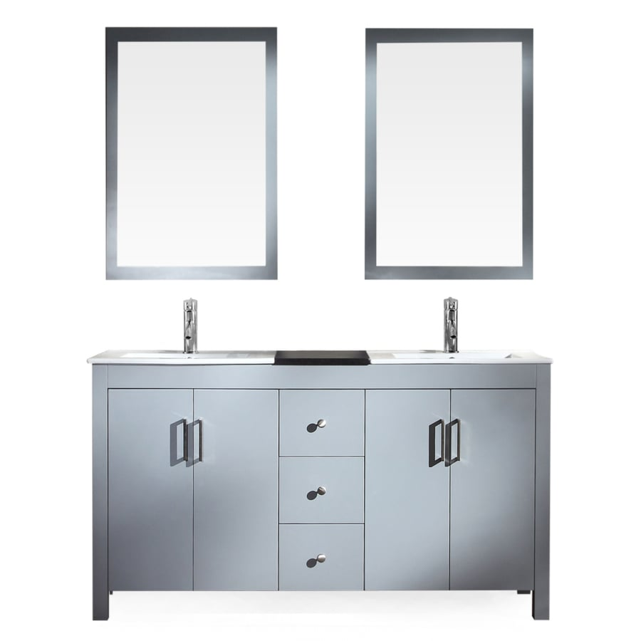 ARIEL Hanson Grey Double Sink Vanity With Black Ceramic Top (Common: 60 In