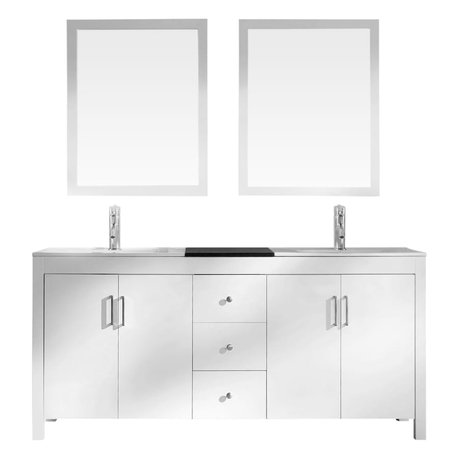 Asian Bathroom Vanity Cabinets Shop Ariel Hanson White 72 In Drop In Double Sink Asian Hardwood