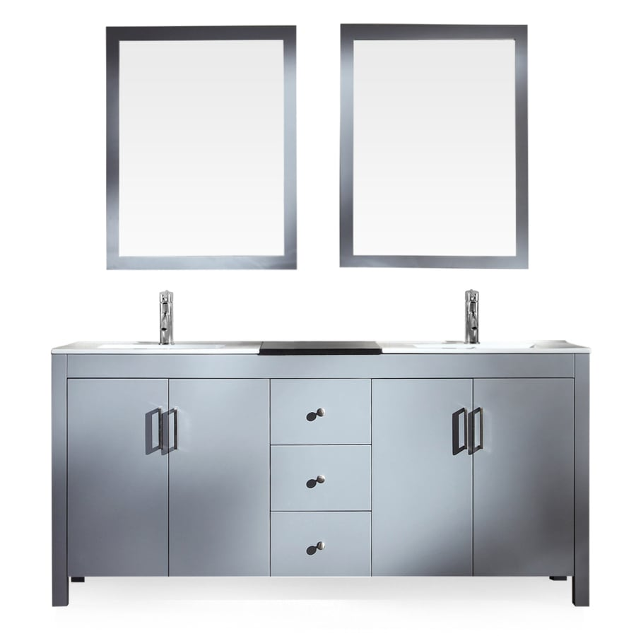 ARIEL Hanson Grey Drop-In Double Sink Bathroom Vanity with Ceramic Top (Common: 72-in x 19-in; Actual: 72-in x 19-in)
