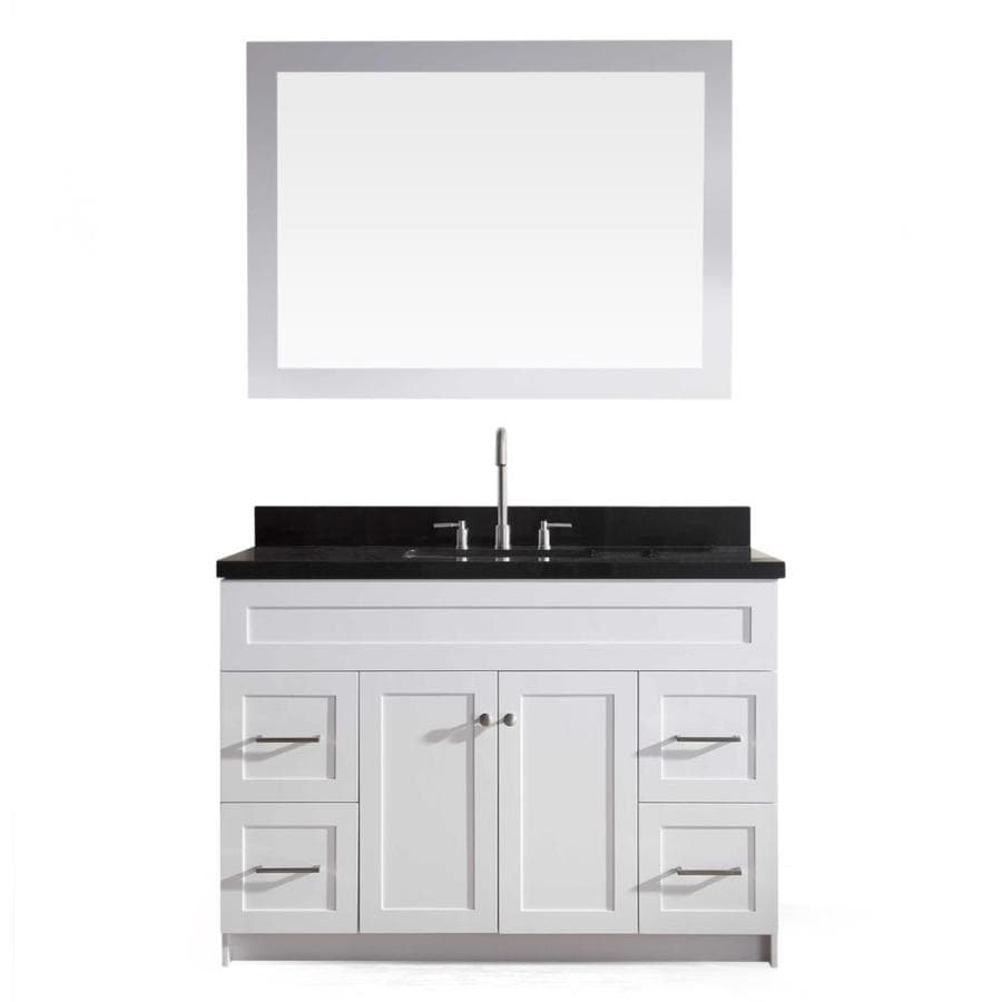 ARIEL Hamlet White (Common: 49-in x 22-in) Undermount Single Sink Asian Hardwood Bathroom Vanity with Granite Top (Mirror Included) (Actual: 49-in x 22-in)