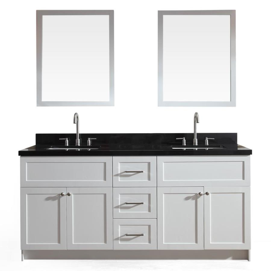 Awesome ARIEL Hamlet White Undermount Double Sink Bathroom Vanity With Granite Top  (Common: 73