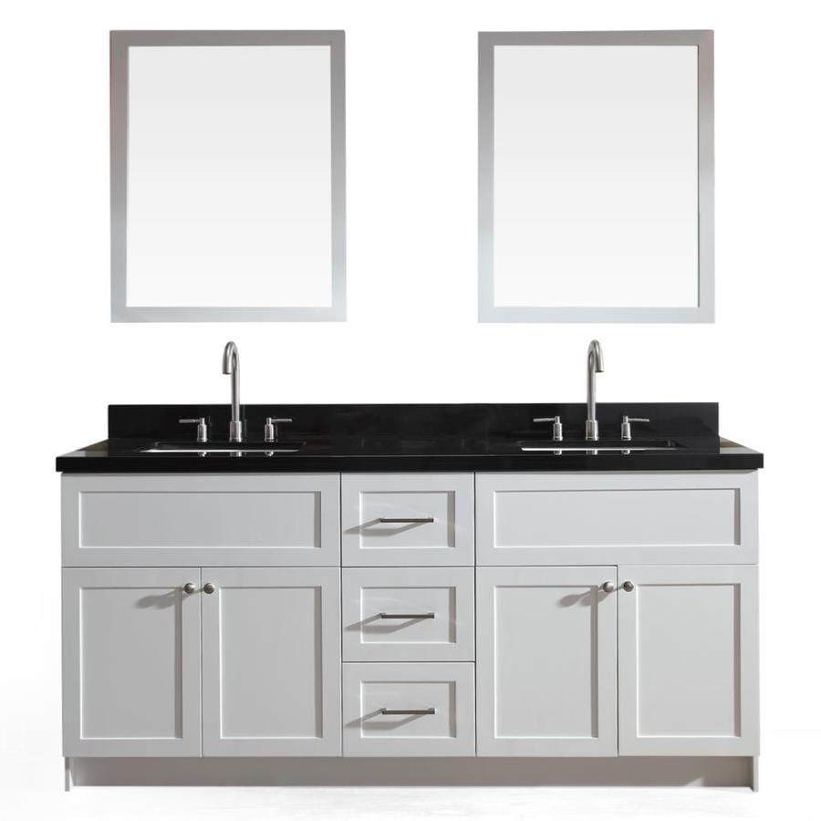 Genial ARIEL Hamlet White Double Sink Vanity With Black Granite Top (Common: 73 In