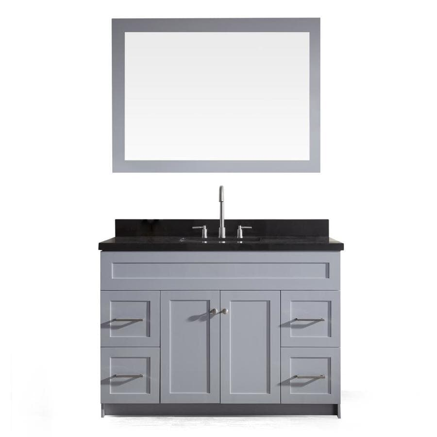 ARIEL Hamlet Grey 49-in Undermount Single Sink Asian Hardwood Bathroom Vanity with Granite Top (Mirror Included)