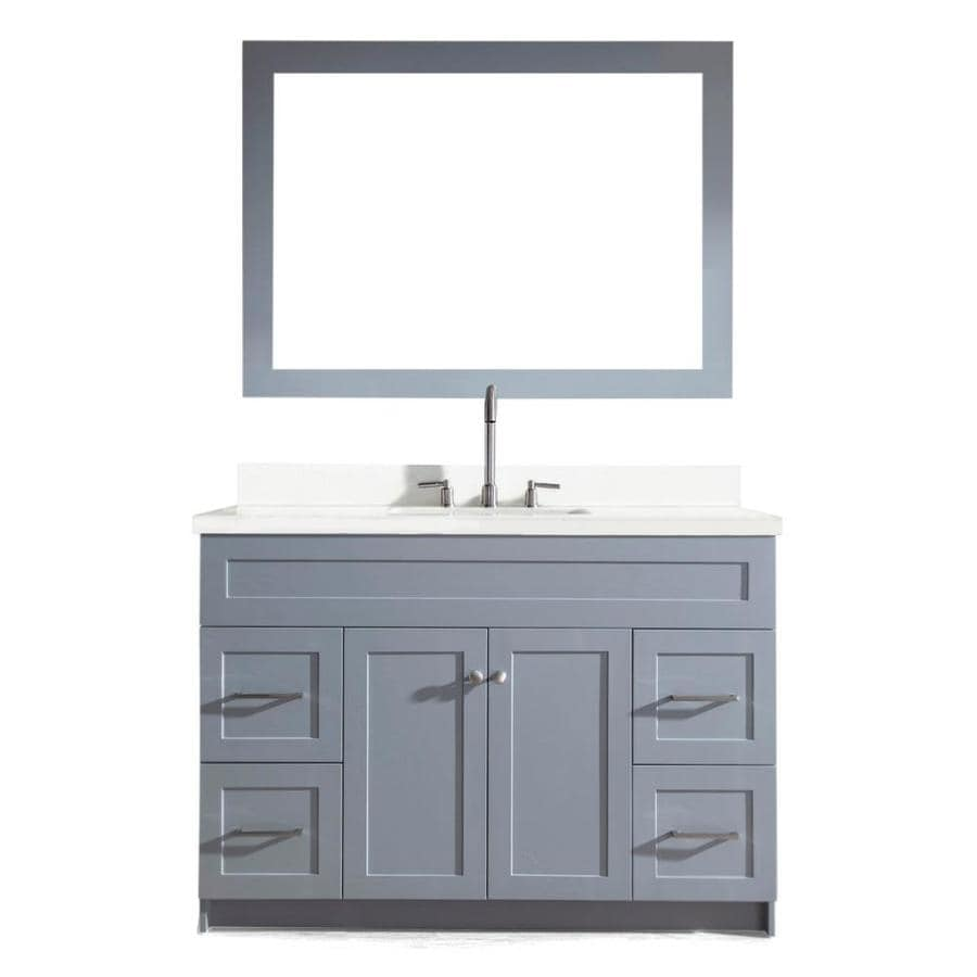 ARIEL Hamlet Grey Single Sink Vanity With White Quartz Top (Common: 49 In