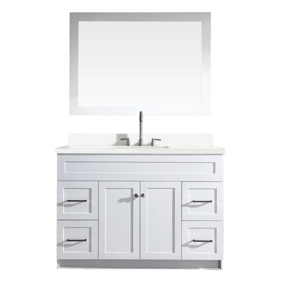 Shop ariel hamlet white undermount single sink bathroom for Bathroom quartz vanity tops