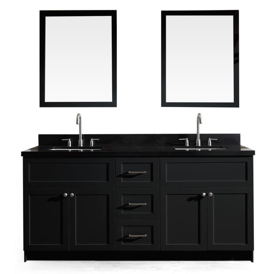 ARIEL Hamlet Black 73-in Undermount Double Sink Asian Hardwood Bathroom Vanity with Granite Top (Mirror Included)