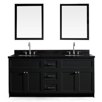 Ariel Hamlet 73 In Black Undermount Double Sink Bathroom Vanity With Black Granite Top Mirror Included In The Bathroom Vanities With Tops Department At Lowes Com