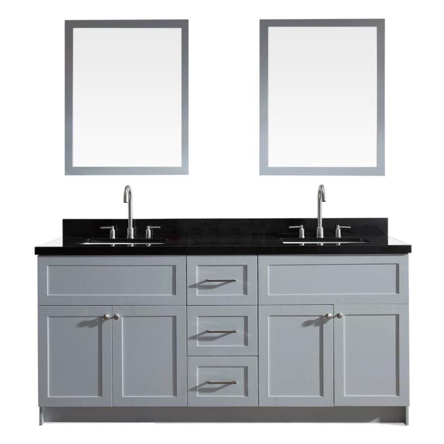 Shop Ariel Hamlet Grey Undermount Double Sink Bathroom Vanity With Granite Top Common 73 In X