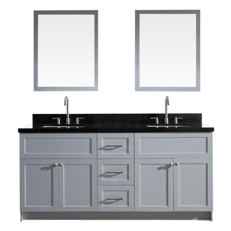 ARIEL Hamlet Grey Undermount Double Sink Bathroom Vanity with Granite Top (Common: 73-in x 22-in; Actual: 73-in x 22-in)