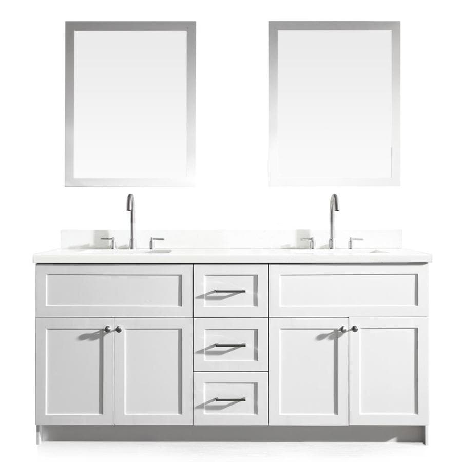 Asian bathroom vanity cabinets - Ariel Hamlet White Undermount Double Sink Bathroom Vanity With Quartz Top Common 73