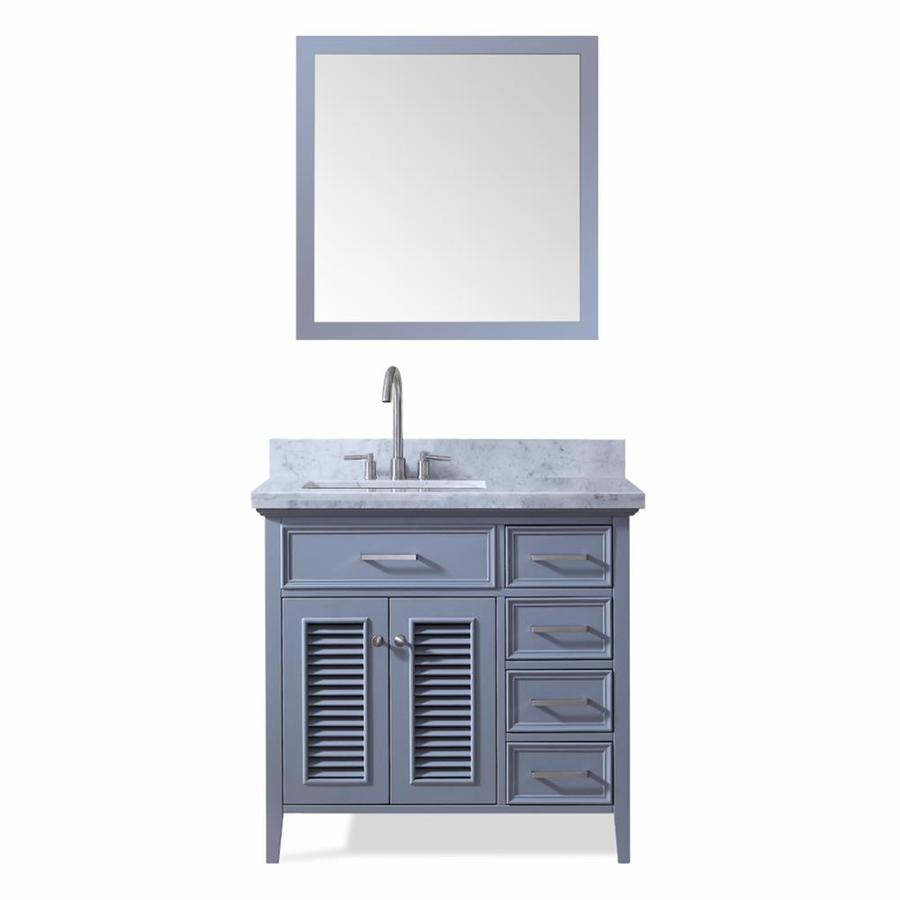ARIEL Kensington Gray Undermount Single Sink Bathroom Vanity with Natural Marble Top (Common: 37-in x 22-in; Actual: 37-in x 22-in)