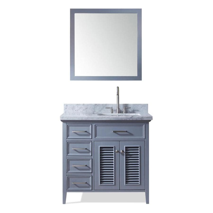 ARIEL Kensington Gray Undermount Single Sink Bathroom Vanity with Natural Marble Top (Common: 37-in x 22-in; Actual: 37-in x 22-in)