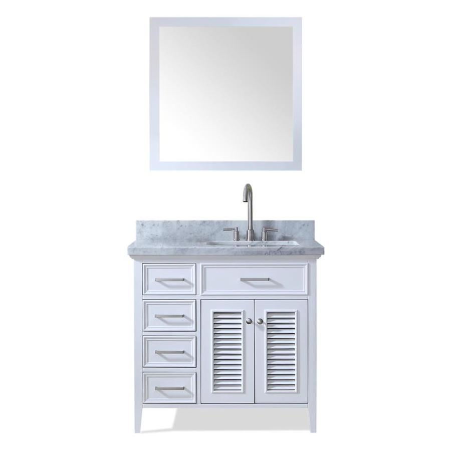 ARIEL Kensington White Undermount Single Sink Bathroom Vanity with Natural Marble Top (Common: 37-in x 22-in; Actual: 37-in x 22-in)