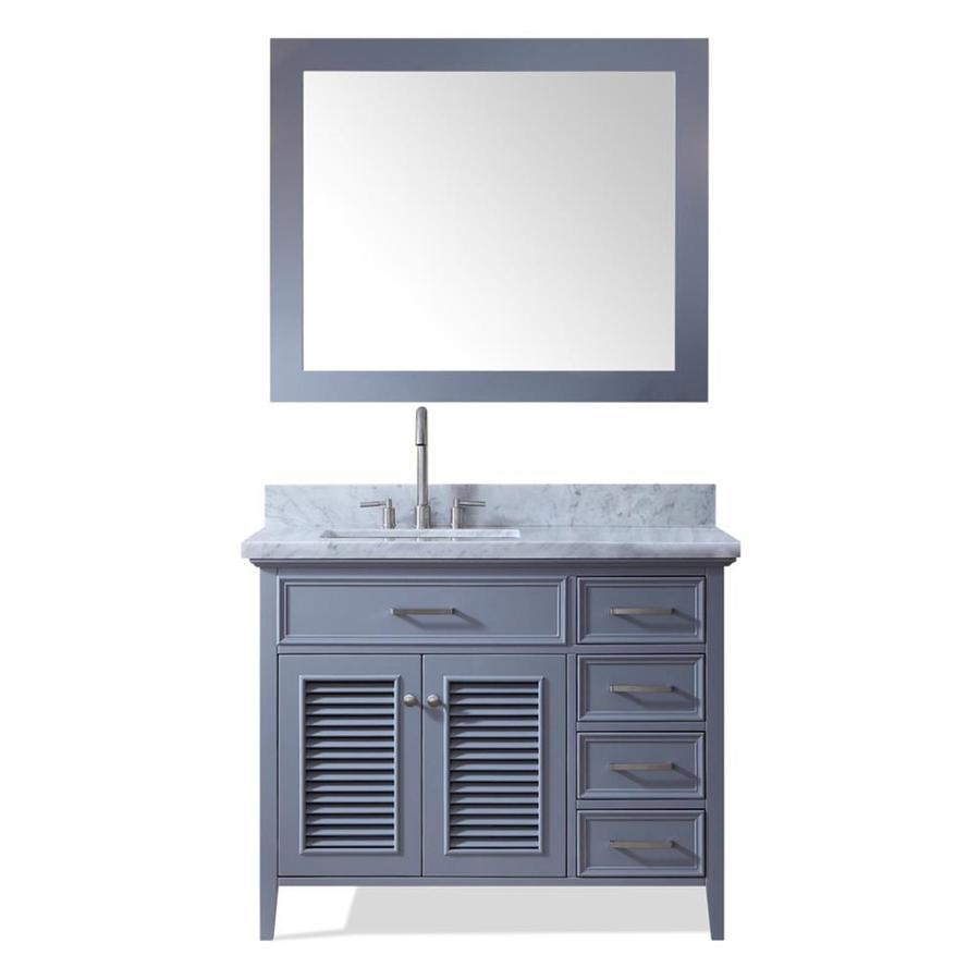 ARIEL Kensington Gray Undermount Single Sink Bathroom Vanity with Natural Marble Top (Common: 43-in x 22-in; Actual: 43-in x 22-in)