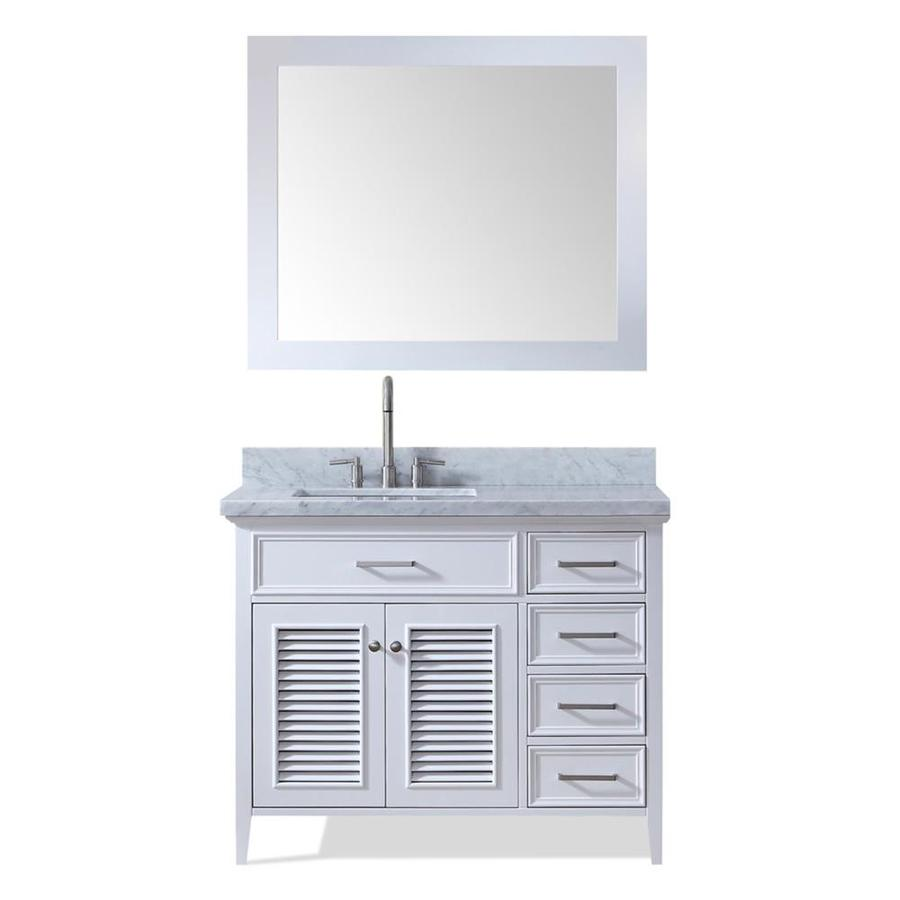 ARIEL Kensington White Undermount Single Sink Bathroom Vanity with Natural Marble Top (Common: 43-in x 22-in; Actual: 43-in x 22-in)