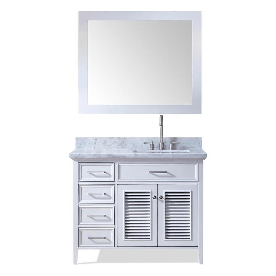 Shop Ariel Kensington White Undermount Single Sink Bathroom Vanity With Natural Marble Top