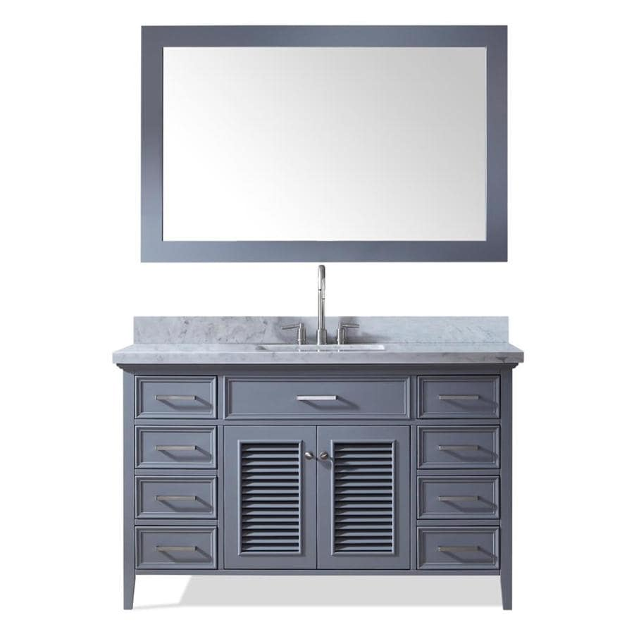 ARIEL Kensington Gray Undermount Single Sink Bathroom Vanity with Natural Marble Top (Common: 55-in x 22-in; Actual: 55-in x 22-in)