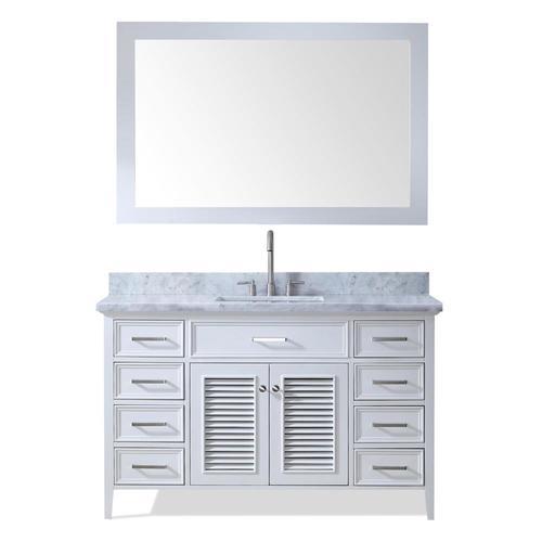 Ariel Kensington 55 In White Single Sink Bathroom Vanity