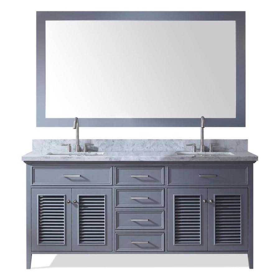 ARIEL Kensington Gray Undermount Double Sink Bathroom Vanity with Natural Marble Top (Common: 73-in x 22-in; Actual: 73-in x 22-in)