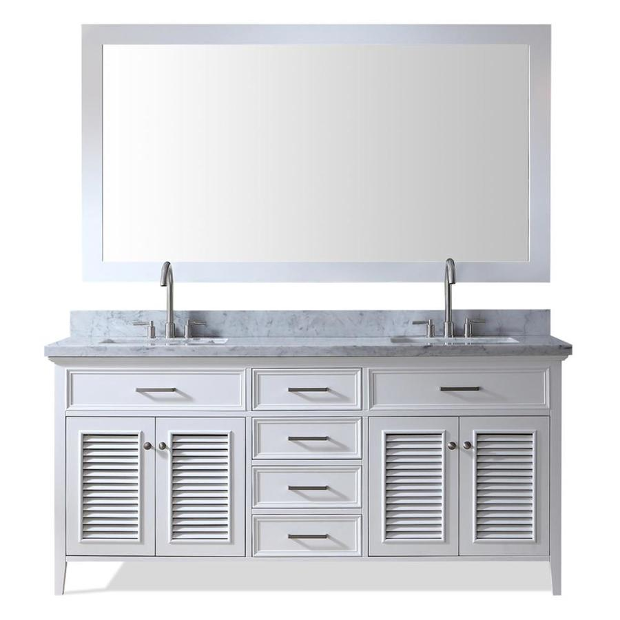 ARIEL Kensington White Undermount Double Sink Bathroom Vanity with Natural Marble Top (Common: 73-in x 22-in; Actual: 73-in x 22-in)