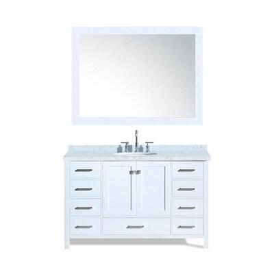 ARIEL Cambridge 55-in White Single Sink Bathroom Vanity with