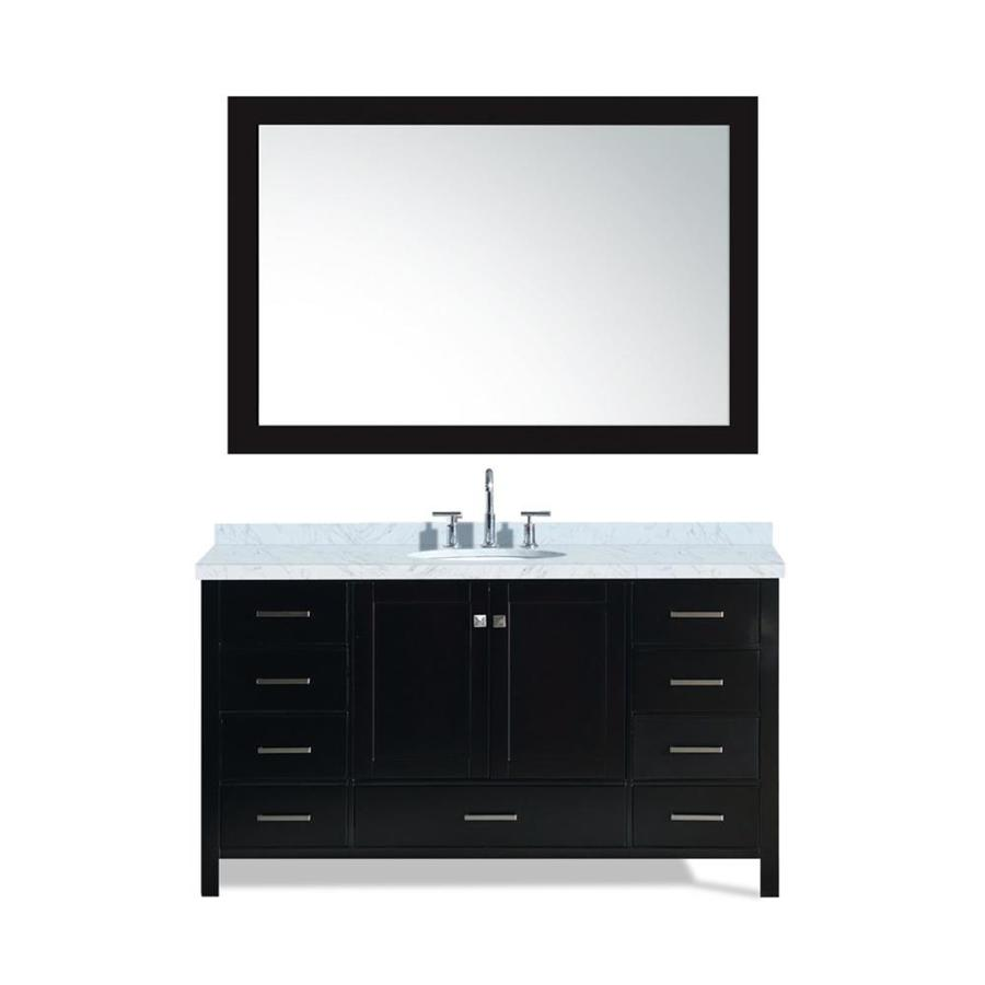 ARIEL Cambridge Espresso Undermount Single Sink Bathroom Vanity with Natural Marble Top (Common: 61-in x 22-in; Actual: 61-in x 22-in)
