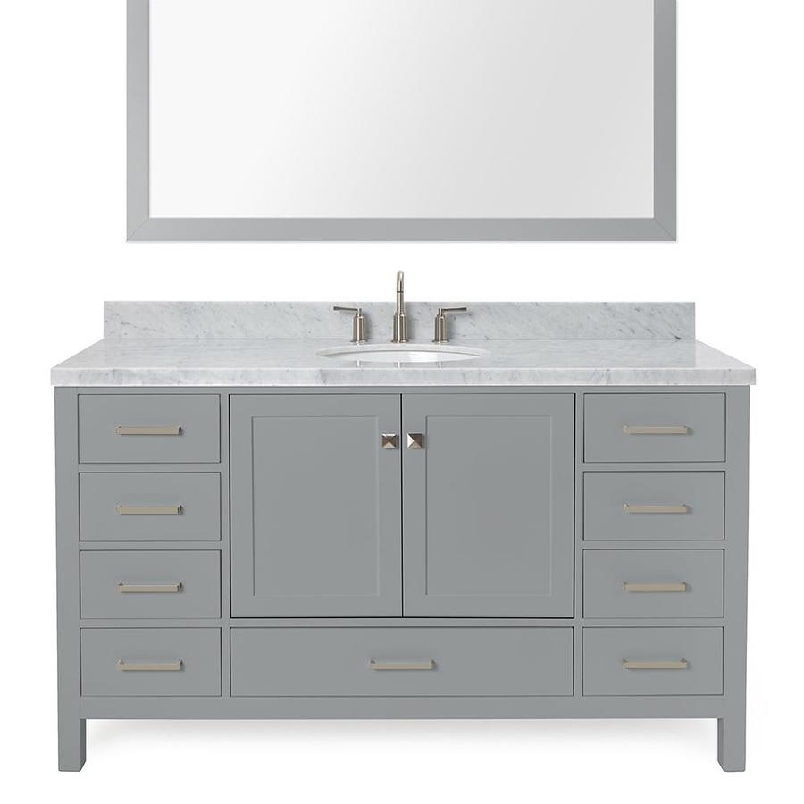 ARIEL Cambridge Gray Undermount Single Sink Bathroom Vanity with Natural Marble Top (Common: 61-in x 22-in; Actual: 61-in x 22-in)