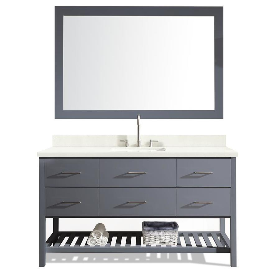 ARIEL Shakespeare Grey Undermount Single Sink Bathroom Vanity with Quartz Top (Common: 61-in x 22-in; Actual: 61-in x 22-in)